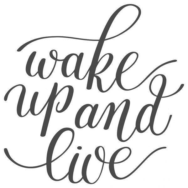 Wandtattoo Spruch Motto Wake up and live Wandsticker Deko