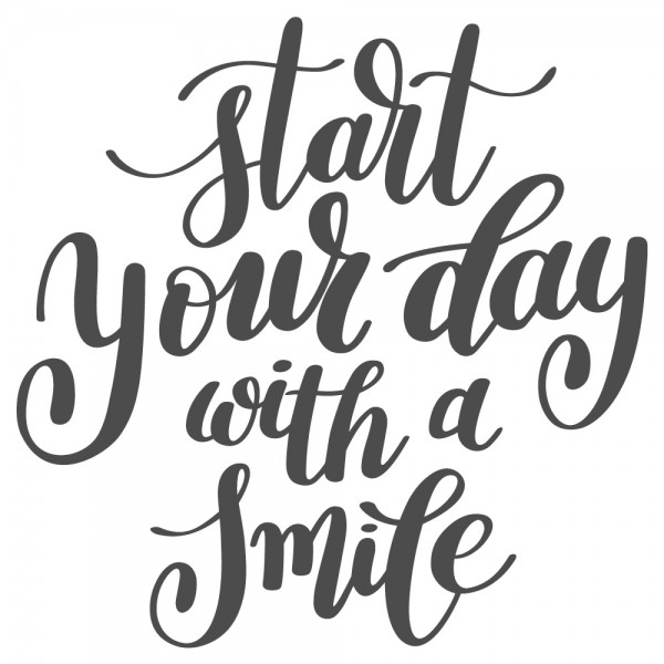 Wandtattoo Spruch Motto Start your day with a smile Wandsticker Deko