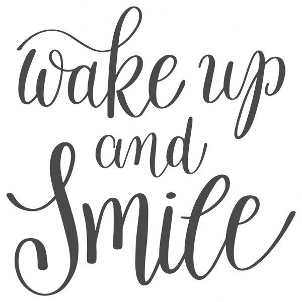 Wandtattoo Spruch Motto Wake up and smile Wandsticker Deko